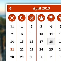 calendar with pagan icons