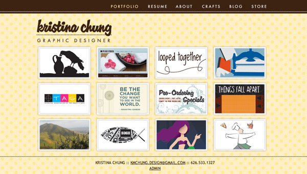 Home page of Kristina Chung website