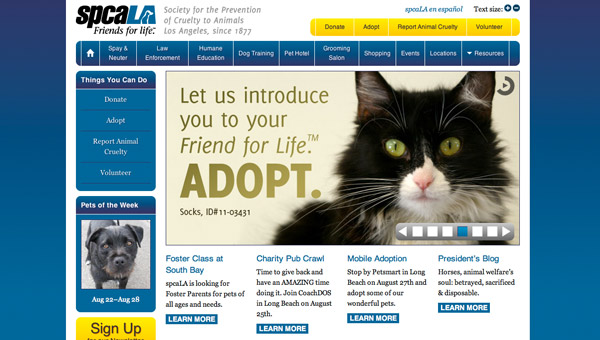 Home page of spcaLA website
