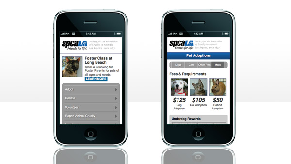Screenshot of spcaLA mobile site