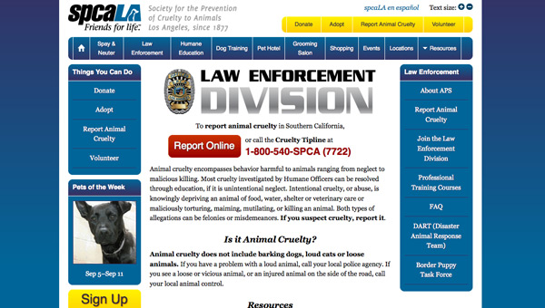 Screenshot of spcaLA report page